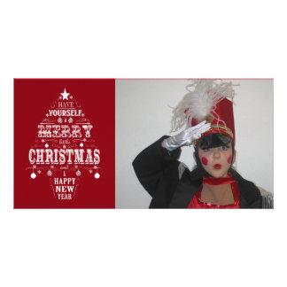 modern vintage chalkboard christmas tree personalized photo card
