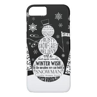 modern vintage chalkboard snowman typography art iPhone 8/7 case
