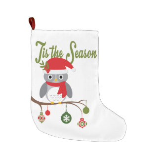 modern vintage christmas woodland owl large christmas stocking