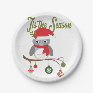 modern vintage christmas woodland owl 7 inch paper plate