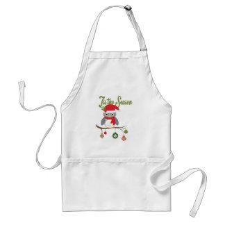 modern vintage christmas woodland owl standard apron