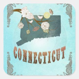 Modern Vintage Connecticut State Map – Aqua Blue Square Stickers