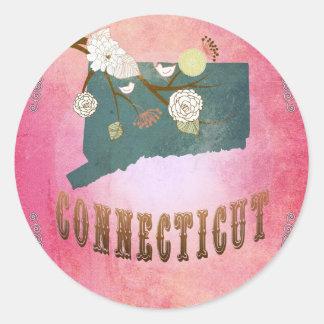 Modern Vintage Connecticut State Map- Candy Pink Round Sticker