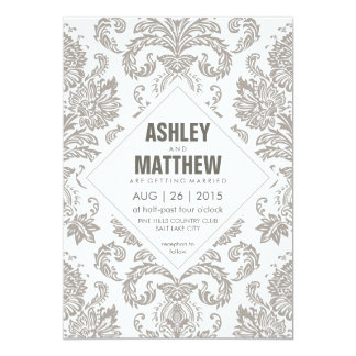 Modern Vintage Damask Wedding Invitation Template
