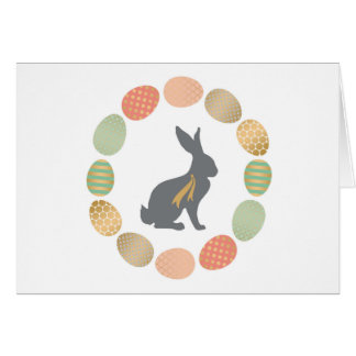 Modern vintage Easter bunny and eggs Card