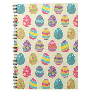 Modern Vintage Easter Eggs Decoration Pattern Spiral Note Book
