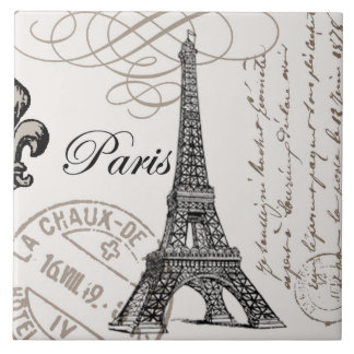 modern vintage Eiffel Tower Large Square Tile