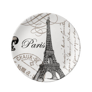 modern vintage Eiffel Tower Plate