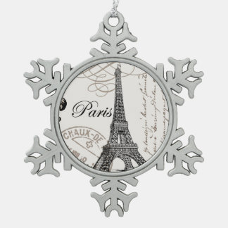modern vintage Eiffel Tower Snowflake Pewter Christmas Ornament