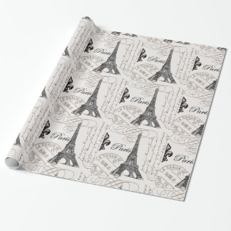 modern vintage Eiffel Tower Wrapping Paper