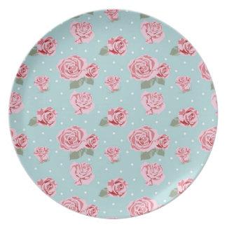 Modern Vintage Elegant Rose Plate