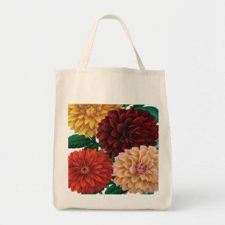Modern vintage fall dahlias tote bag