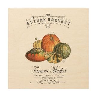 modern vintage fall gourds and pumpkin wood prints