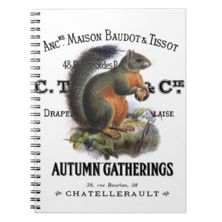modern vintage fall squirrel notebooks