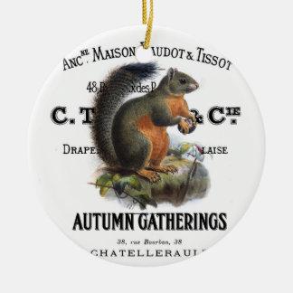 modern vintage fall squirrel round ceramic decoration