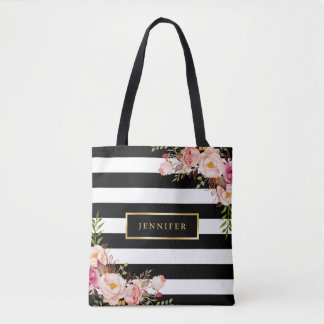 Modern Vintage Floral Classic Black White Stripes Tote Bag
