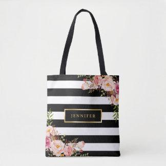 Modern Vintage Floral Classic Black White Stripes Tote Bag