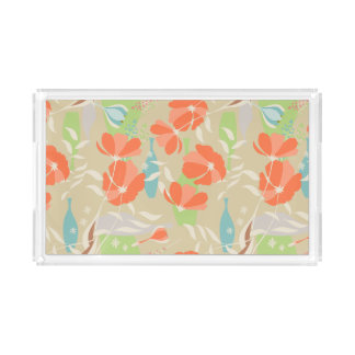 Modern vintage floral Coquelicot leaves pattern