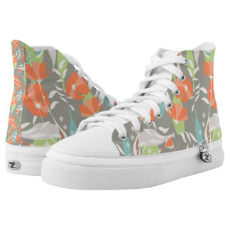 Modern vintage floral Coquelicot leaves pattern Printed Shoes