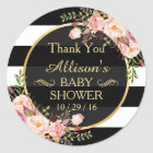 Modern Vintage Floral Decor Baby Shower Thank You Classic Round Sticker