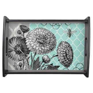 Modern vintage floral serving tray