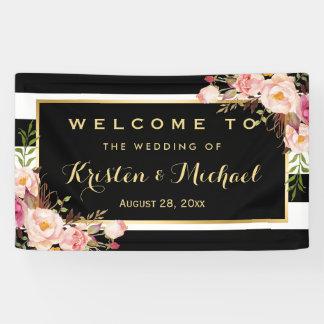 Modern Vintage Floral Stripes Decor Wedding Party