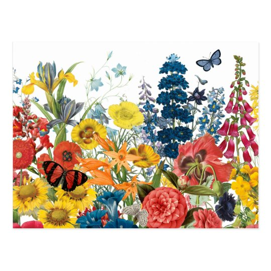 modern vintage flowers postcard