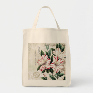 modern vintage french amarylis tote bag