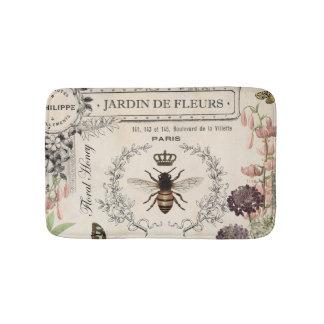 Modern Vintage French Bee garden Bath Mats