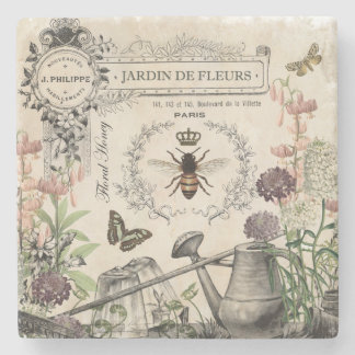 Modern Vintage French Bee garden Stone Coaster