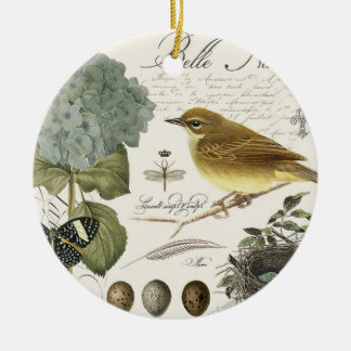 modern vintage French bird and nest Christmas Ornament