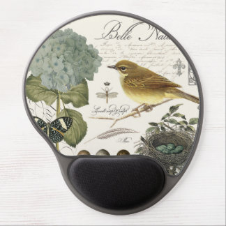 modern vintage French bird and nest Gel Mouse Mat
