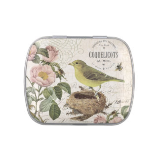 modern vintage French bird and nest mint tin can Jelly Belly Tins