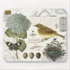 modern vintage French bird and nest Mouse Mat