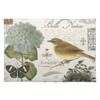 modern vintage French bird and nest Placemat