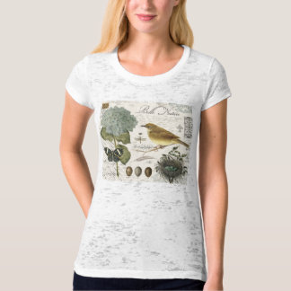 modern vintage French bird and nest T-Shirt