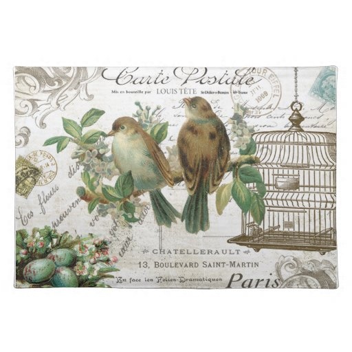 Modern Vintage French birds and birdcage Place Mat