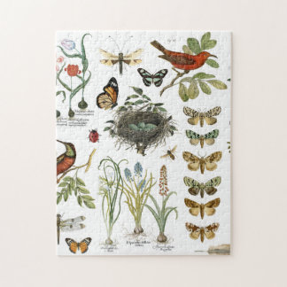 modern vintage french botanical birds and flowers jigsaw puzzle