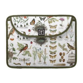 modern vintage french botanical birds and flowers MacBook pro sleeve