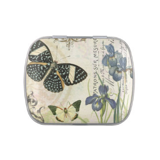 modern vintage french butterflies mint tin can jelly belly candy tin