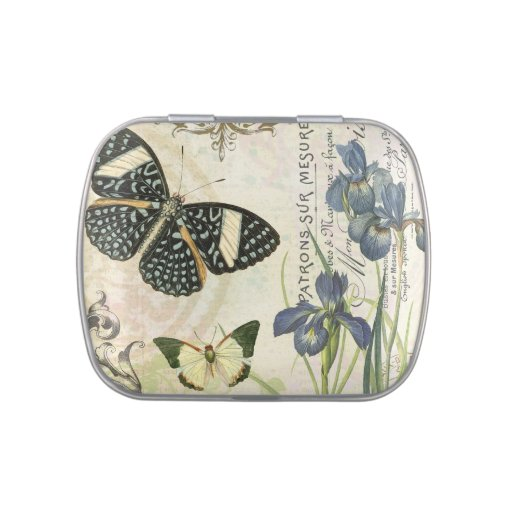 modern vintage french butterflies mint tin can jelly belly tins