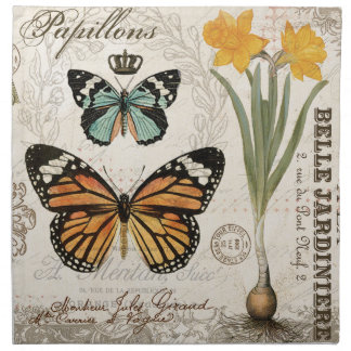 Modern vintage french butterflies napkin