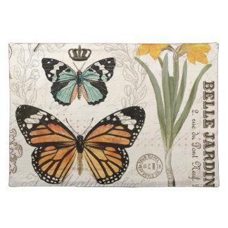 Modern vintage french butterflies place mat