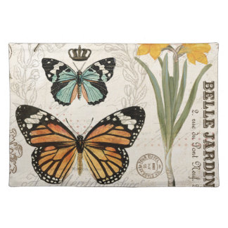 Modern vintage french butterflies placemat