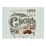 modern vintage french chocolates post card