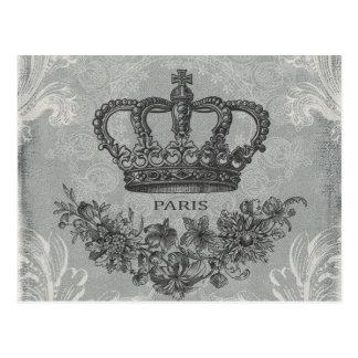 modern vintage french crown postcard