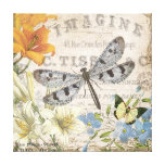 modern vintage french dragonfly canvas prints