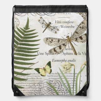 modern vintage french dragonfly drawstring bag