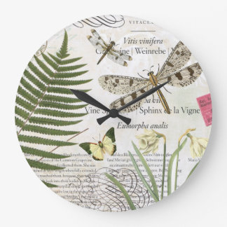 modern vintage french dragonfly large clock