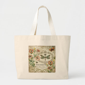 Modern Vintage French Dragonfly Large Tote Bag